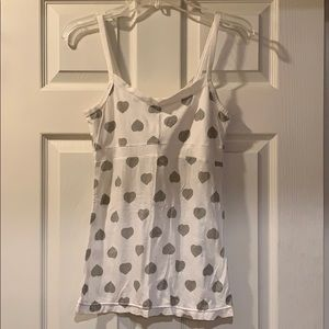 American Eagle White Tank Top with Grey Hearts